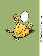 Cartoon rooster - Singing funny cartoon rooster in vector...