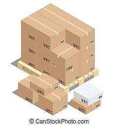 Group of stacked cardboard boxes on wooden pallets