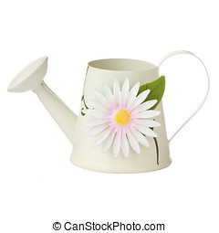 Watering can - Metal watering can decorated with a flower