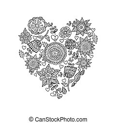 Floral heart.Doodle Heart. Vector illustration. - Floral...
