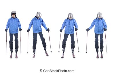Skiier demonstrate how to move sideways. Step by step...