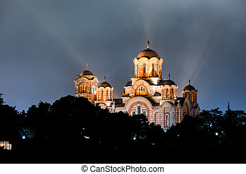 Church of St. Marco at night. Belgrade, Serbia - Church of...