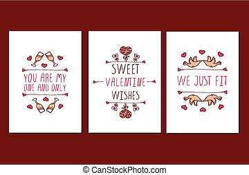 Set of Saint Valentines day hand drawn greeting cards Poster...