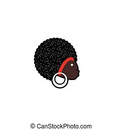 Vector avatar of African woman with traditional hairdress....