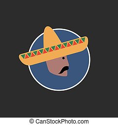 Vector avatar of Mexican man in sombrero Isolated background...