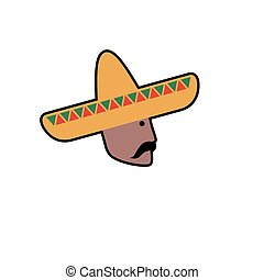 Vector avatar of Mexican man in sombrero. Isolated white...