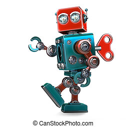 Retro Robot wound up with a key. Isolated. Contains clipping...