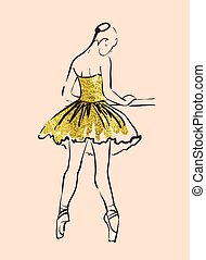 sketch of girl ballerina