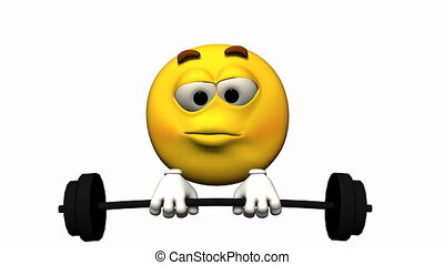Emoticon Animation: lifting weights