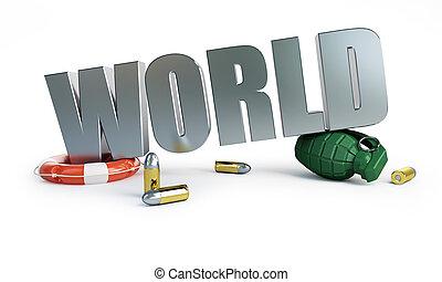 mundo, war.3d, ilustrações, ligado, Um,...