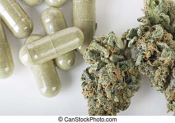 Medicinal Marijuana - Dried marijuana and green capsules.