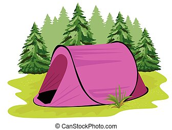 pink camping tent standing on a glade on the background of...