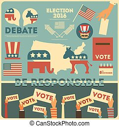 Presidential Election Voting Elements. Vector Illustration.
