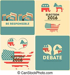 Presidential Election Voting Mini Posters Set Vector...