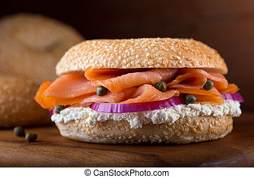 Lox and Bagel - A delicious homemade sesame seed bagel with...