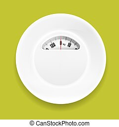 White Plate With Weight Scale With Gradient Mesh, Vector...