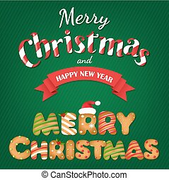 Xmas Gingerbread Cookie Text With Gradient Mesh, Vector...