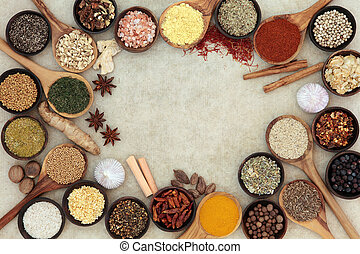 Herb and Spice Abstract Border - Herb and spice selection...