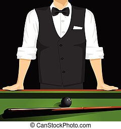 man leaning on a pool table - cropped portrait of man...