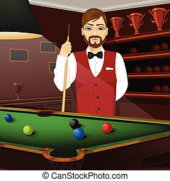 handsome caucasian man holding cue stick - handsome...