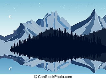 Mountains and sky reflection in a lake with forest