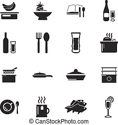 Food and kitchen icons set - Food and kitchen simply icons...
