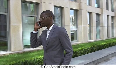 African American Businessman talking on cell phone, standing...