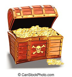 wooden pirate chest with golden coin