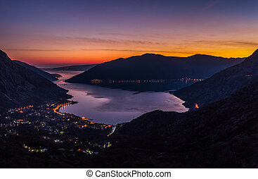 Sunset in Risan, boka bay - Amazing sunset in Risan, boka...