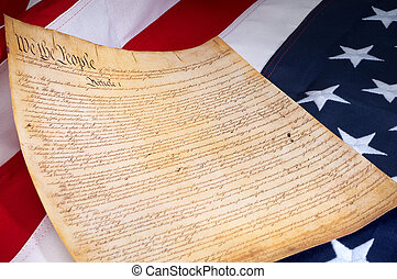 Declaration of Independence on the US flag