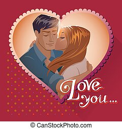 Love postcards. Couple embraces. Love you. Vector...