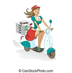 Pizza. Sexual girl. Scooter. Delivery