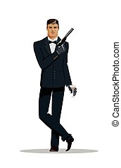 Man super agent. In a black suit with a pistol