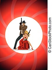 Team of super agents. Posing on camera. In gun barrel. Sexual woman in red dress.
