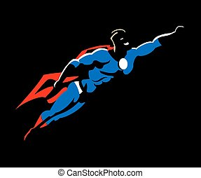 Superhero flying ready to work with red cape and boots, and a blue super hero garment vector illustration.