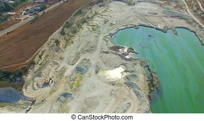 AERIAL VIEW Green Lake In Open Pit In Bakhchisarai, Crimea -...