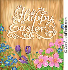 Happy Easter flowers wooden banner. Congratulatory text and...