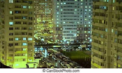 Aerial view to residential area of big city at night