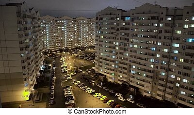 Modern multi-storey residential buildings in Night