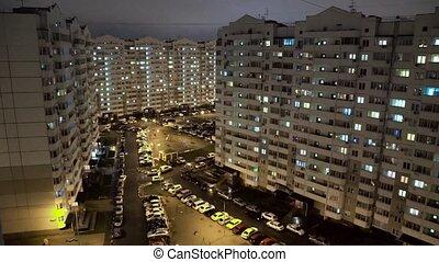 Modern multi-storey residential buildings in Night