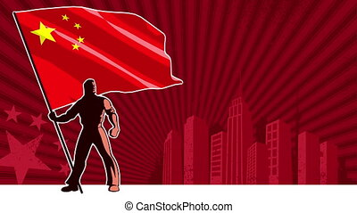 Flag Bearer China Background - Flag bearer holding the flag...