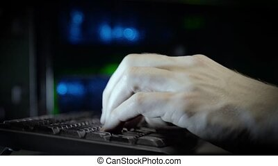 Hackerhand using computer with data code HD