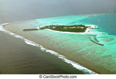 Atoll - Beautiful Maldivian atoll seen from the flying...