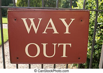 Way out sign - directing to the way out