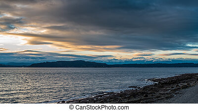 Olympics And Puget Sound - A view of the Olympics Mountains...