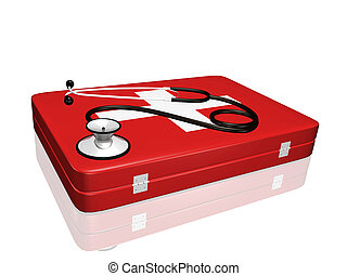 Stethoscope and Medical Kit - A 3D stethoscope on top of a...