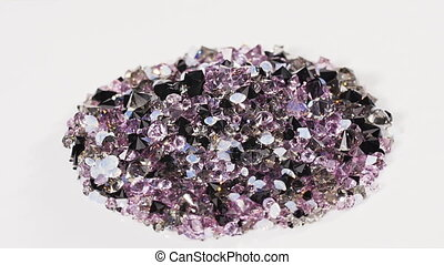 Purple jewel stones heap rotating