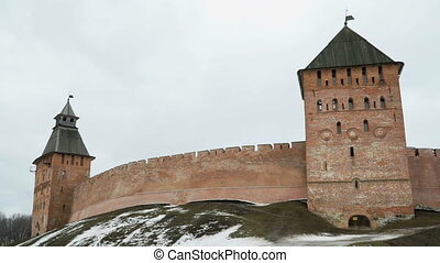 Old towers of Novgorod Kremlin, Veliky Novgorod, Russia -...