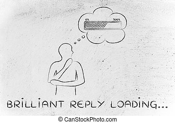 Person with thought bubble &  progress bar, with text Brilliant Reply Loading