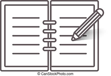 Flat line notebook icon - Flat line open notebook icon with...